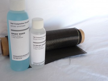 Plain Weave Carbon Fiber Epoxy Resin Kit with 6 oz. Resin